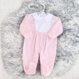 Baby Girls Pink Velour Babygrow with White Collar