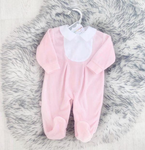 Baby Girls Pink Velour Babygrow with White Collar