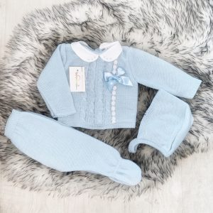 Blue Knitted Baby Three Piece Set