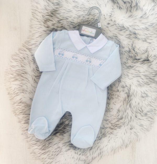 Baby Boys Blue Car Babygrow