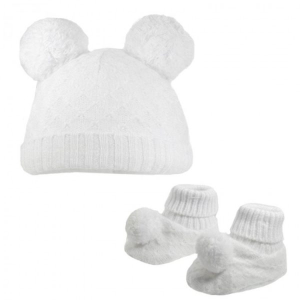 Unisex White Hat & Booties