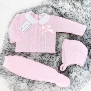 Baby Girls Pink Three Piece Set with Bow