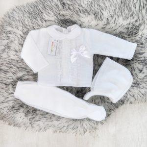 Unisex White Knitted Three Piece Set