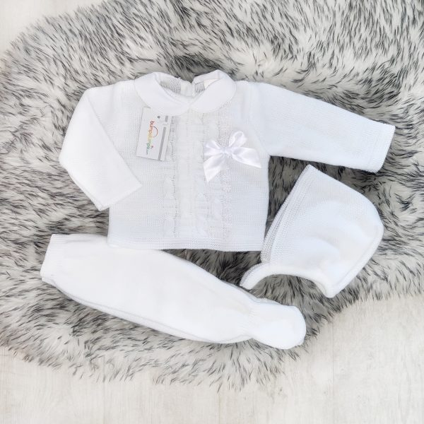 Unisex White Knitted Three Piece Set