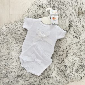 Unisex White Knitted Top & Shorts Set