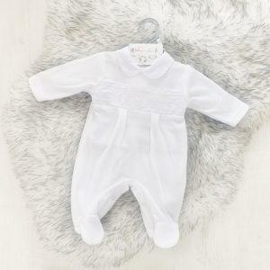 Unisex White Tiny Babygrow