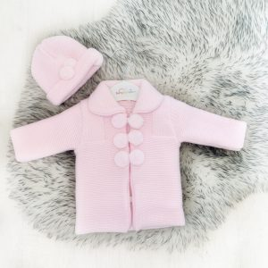 Baby Girls Pink Pom Pom Jacket & Hat