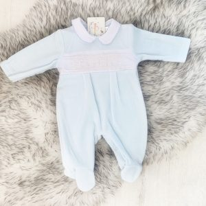 Blue Fleece Babygrow
