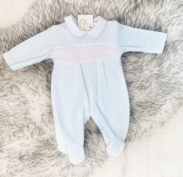 Blue Fleece Babygrow