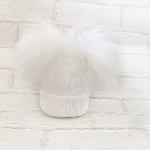 Unisex White Double Pom Pom Hat