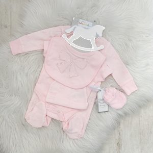 Baby Girls Pink 5 Piece Babygrow Set