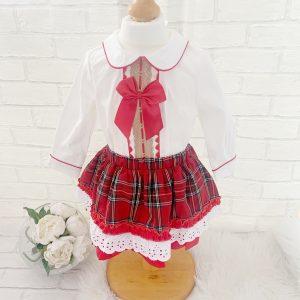 Baby Girls Ivory Blouse & Check Shirt