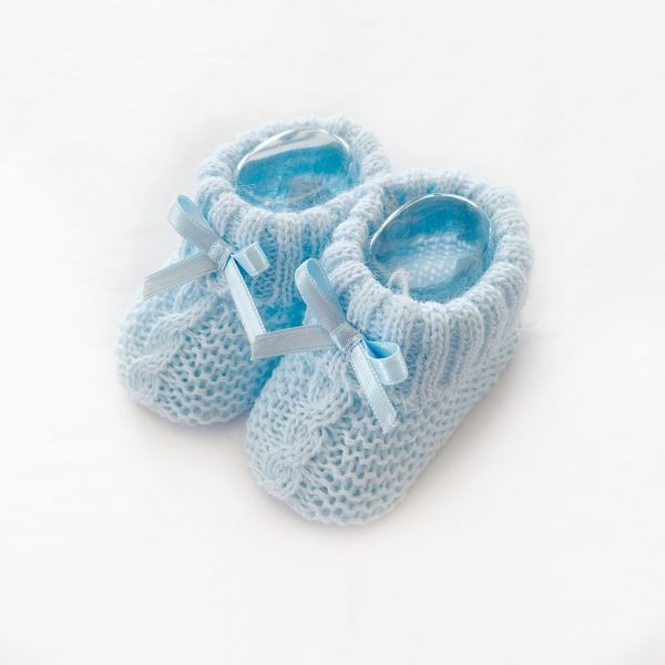 Blue Knitted Booties with Bow