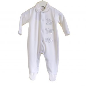 Unisex Soft White Fleece Babygrow