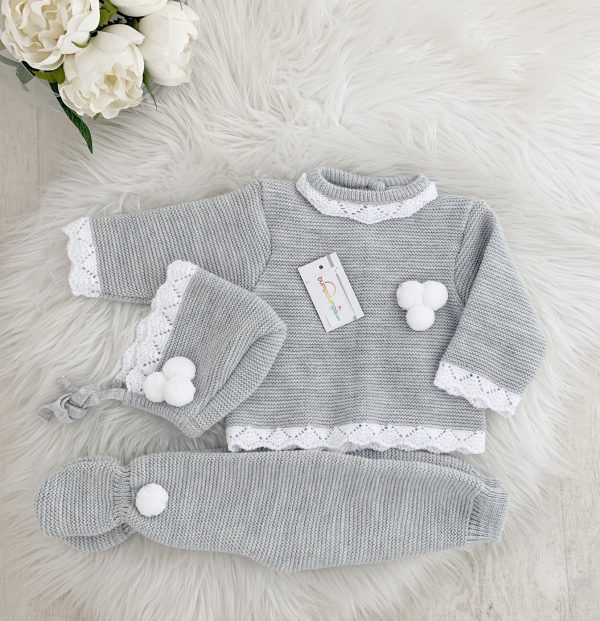 Unisex Grey Three Piece Pom Pom Set