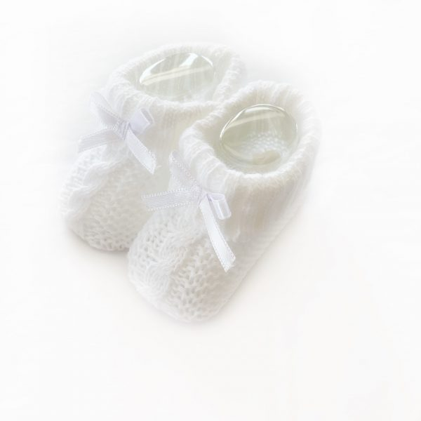 White Knitted Booties With Bow