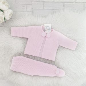 Baby Girls Pink Knitted Cardigan Set