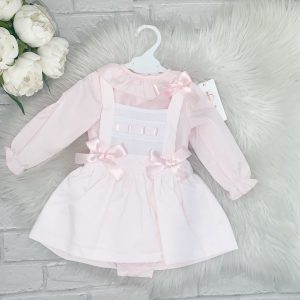 Baby Girls Pink Pinafore Dress & Blouse