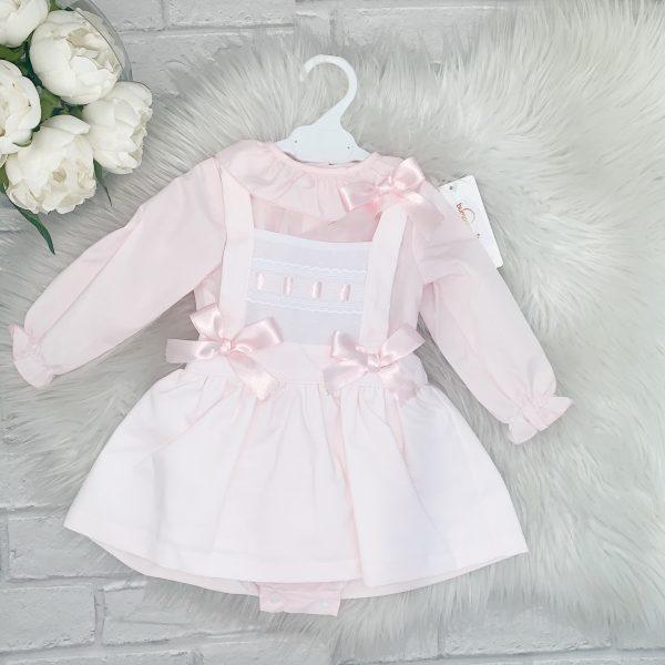 Baby Girls Pink Pinafore Dress & Blouse