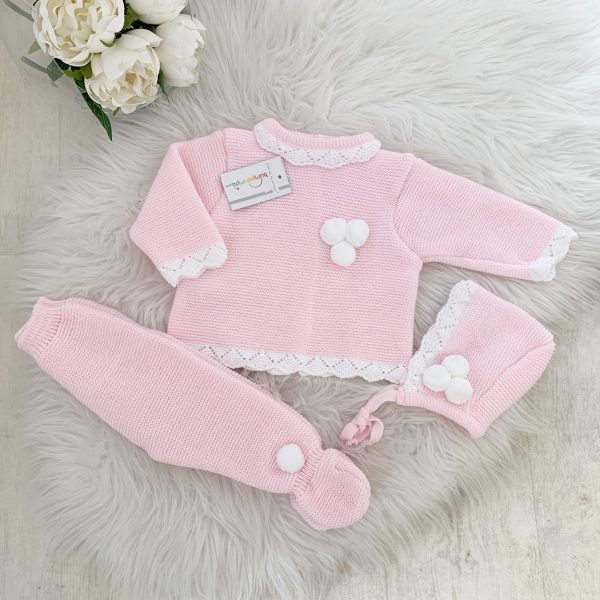 Baby Girls Pink Three Piece Pom Pom Set
