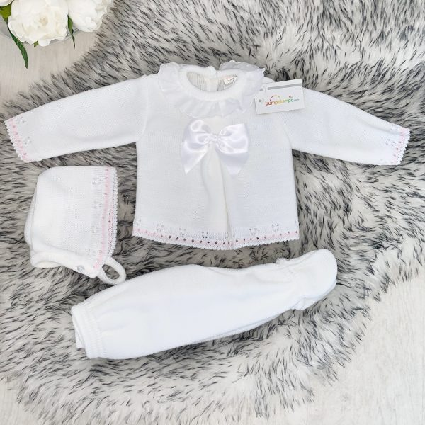 Baby Girls White Knitted 3 Piece Set