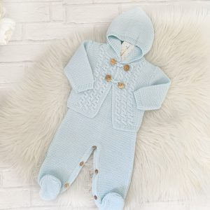 Baby Boys Blue knitted Dungaree & Cardigan Set