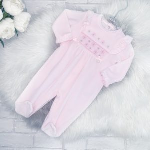Baby Girls Pink Fleece Sleepsuit