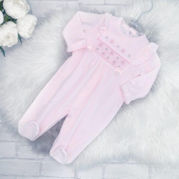 Baby Girls Pink Fleece Sleepsuit