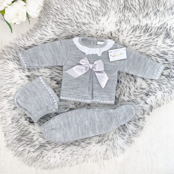 Baby Grey Knitted 3 Piece Set
