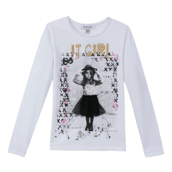 3Pommes Girls White Long Sleeve Top with Print