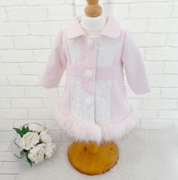 Baby Girls Pink Coat with Fur