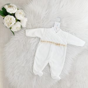 Ivory Babygrow with Beige Bow