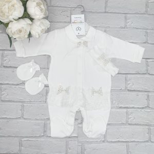Baby Girls Ivory Diamond Babygrow Set