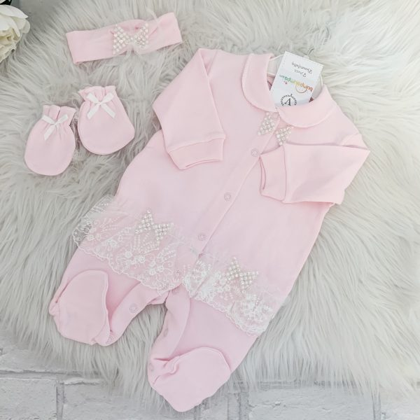 Baby Girls Pink Diamond Babygrow Set