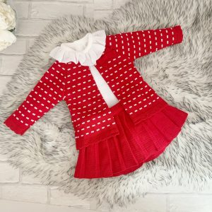 Baby Girls Red Knitted 3 Piece Set