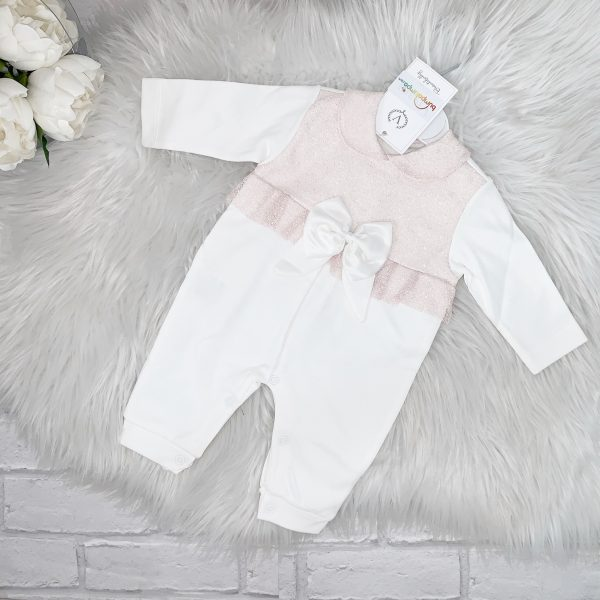 Baby Girls Ivory Babygrow with Pink Lace