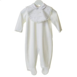 Unisex White Fleece Bib Babygrow