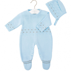 Baby Boys Blue Onesie with Hat