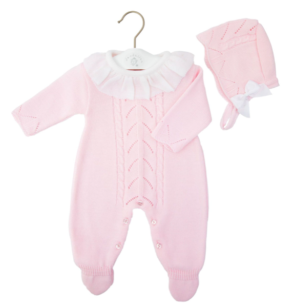 Baby Girls Pink Onesie & Bonnet