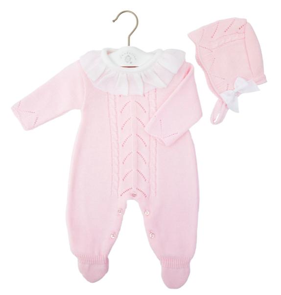 Baby Girls Pink Onesie & Bonnet