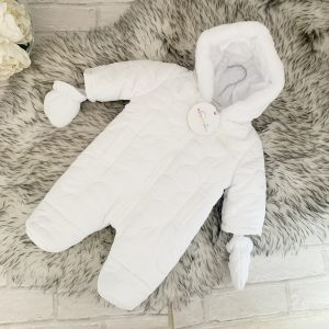 Unisex White Snowsuit