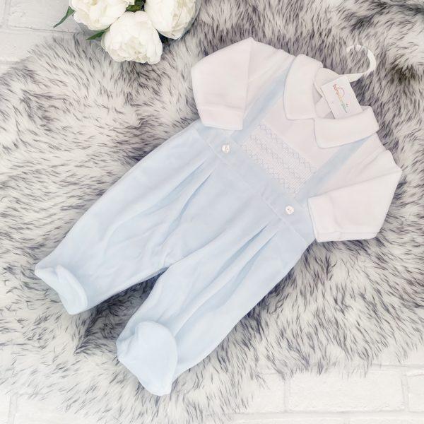 Baby Blue Fleece Babygrow with Collar