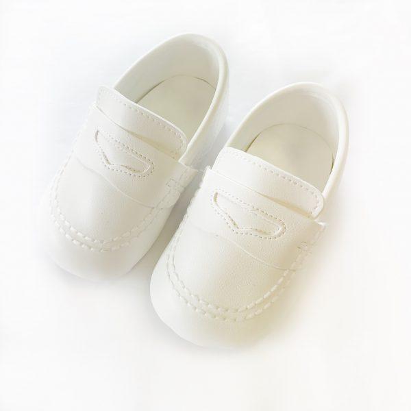 Baby Boys White Moccasins