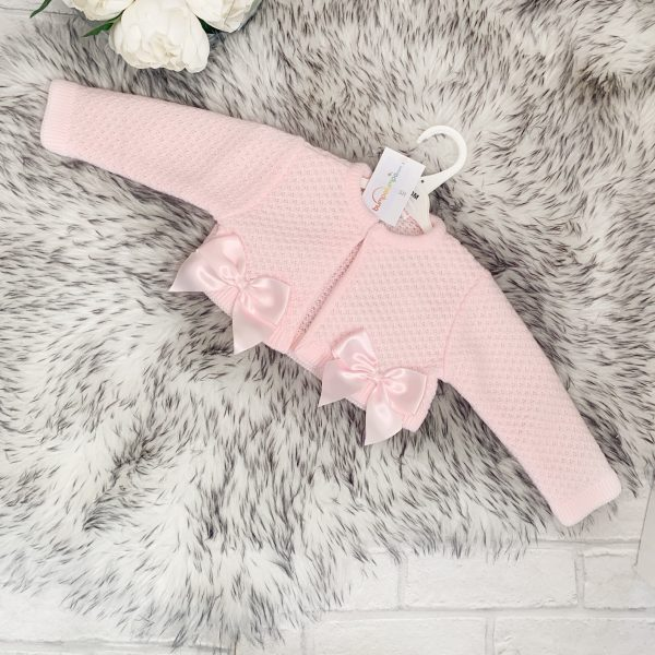 INFANTS PINK TIGHTS WITH SATIN BOW