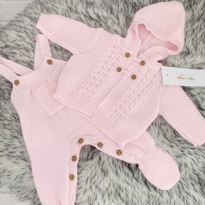 Baby Girls Pink Knitted Dungaree Set