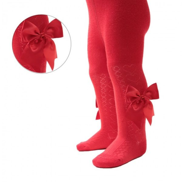 Baby Girls Red Satin Bow Tights