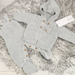Grey Knitted Dungaree & Cardigan Set
