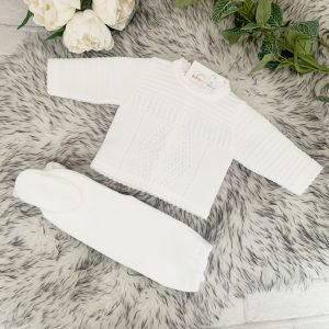 White Knitted Top & Trousers