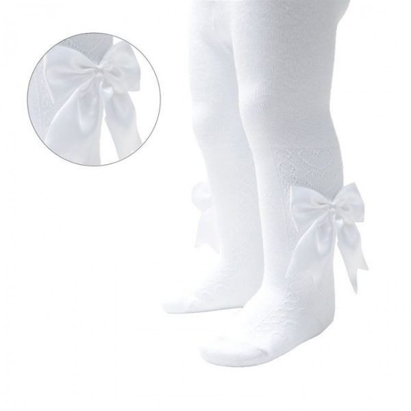 White Baby Tights with Satin Bow