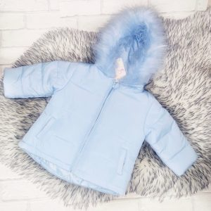 Baby Boys Blue Padded Coat with Blue Fur